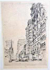 Etching signed J. Pennell NYC scene