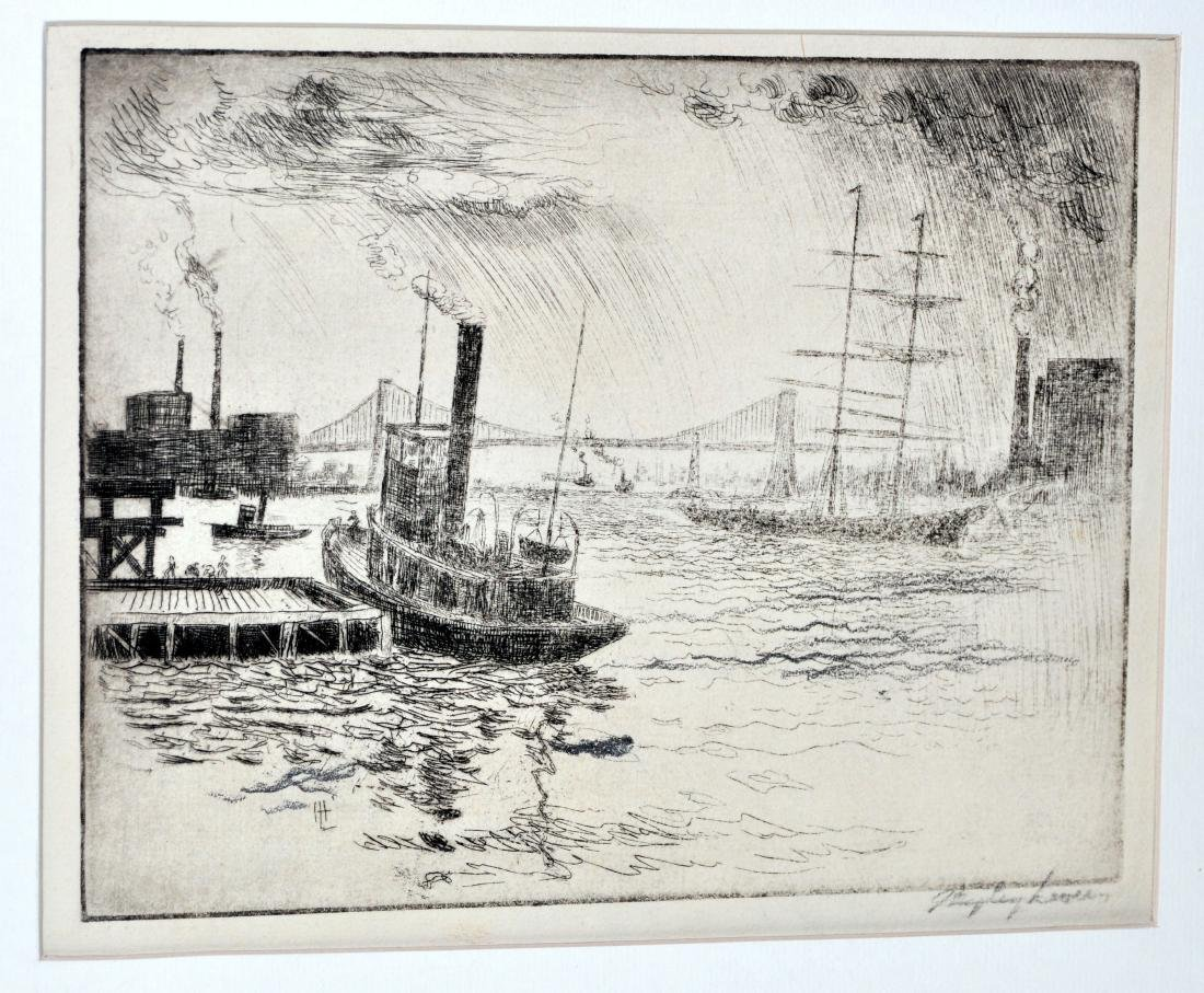 Hayley Lever Brooklyn Bridge etching signed