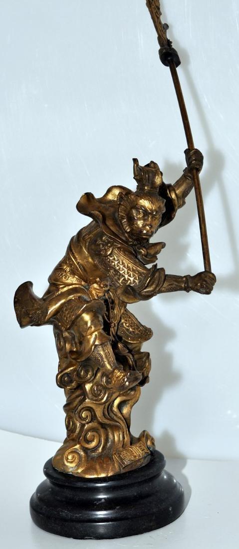 Bronze monkey warrior marble base