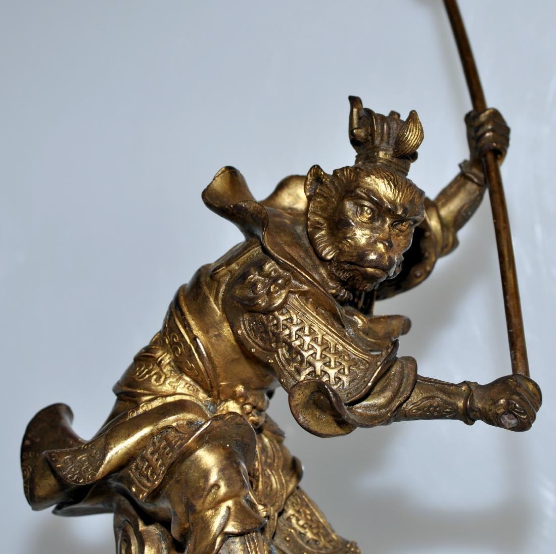 Bronze monkey warrior marble base - 2