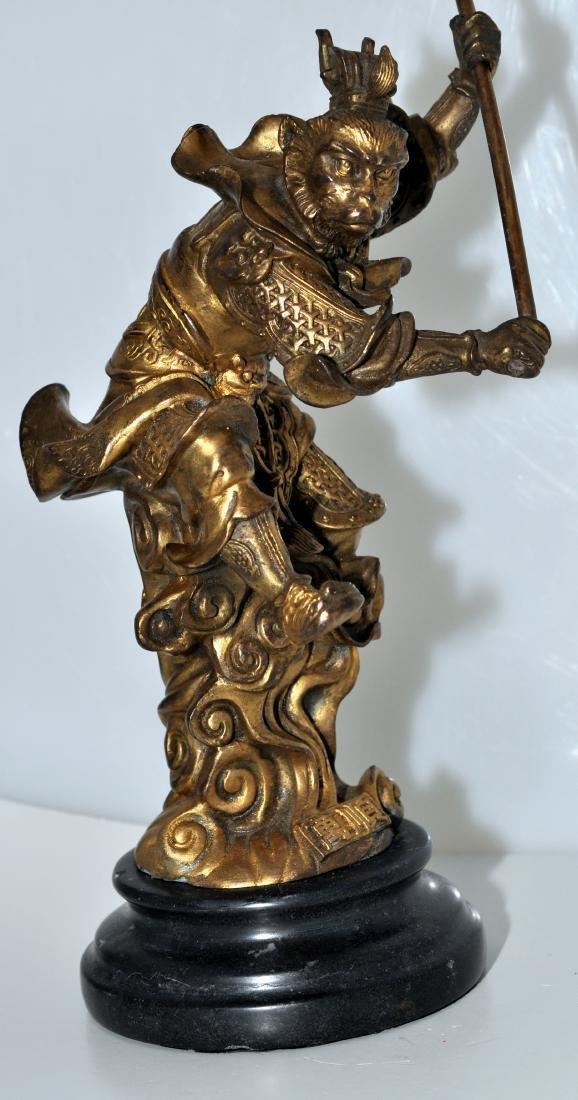 Bronze monkey warrior marble base - 3