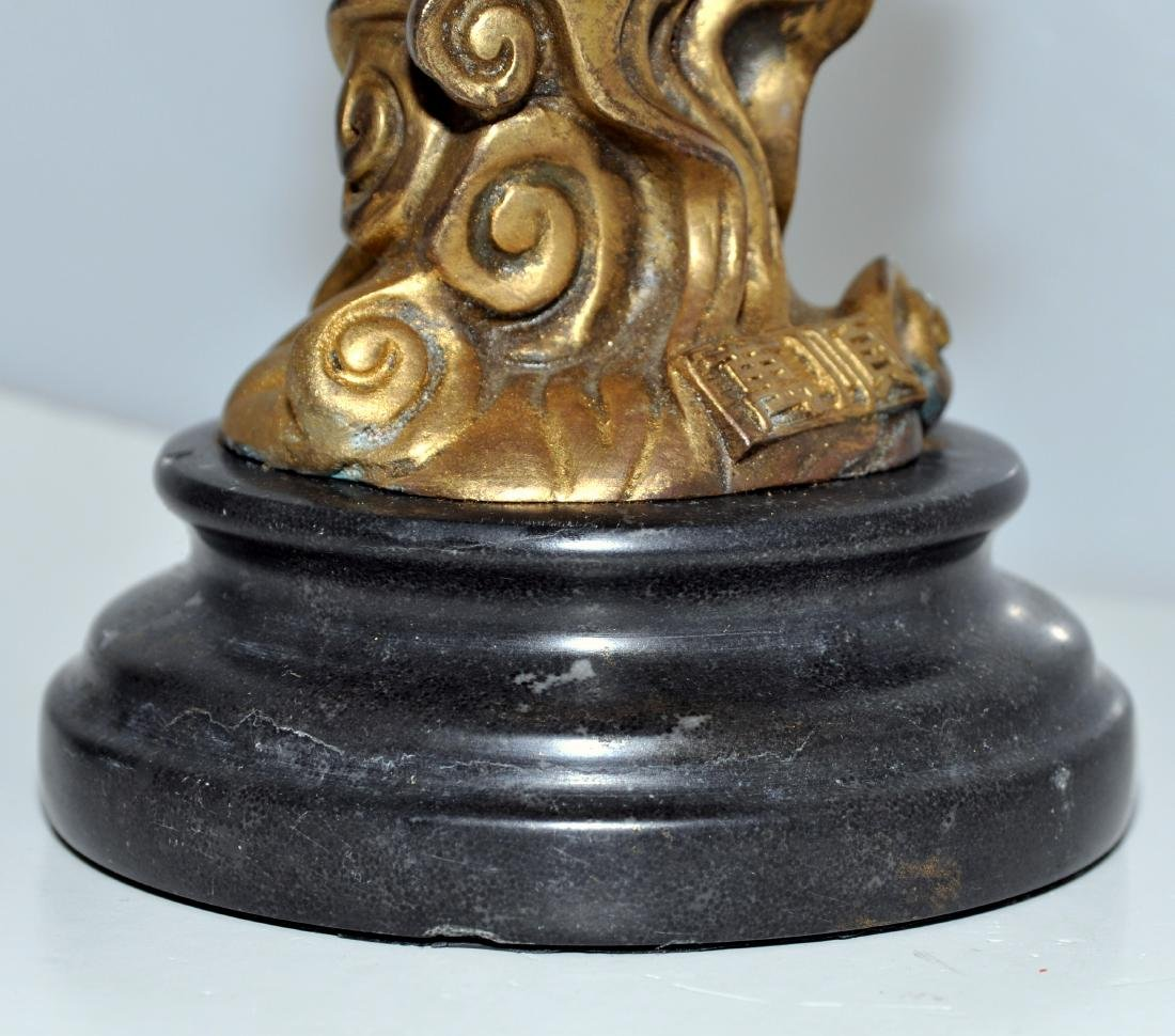Bronze monkey warrior marble base - 4