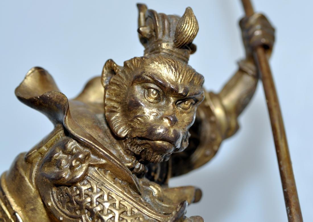 Bronze monkey warrior marble base - 5