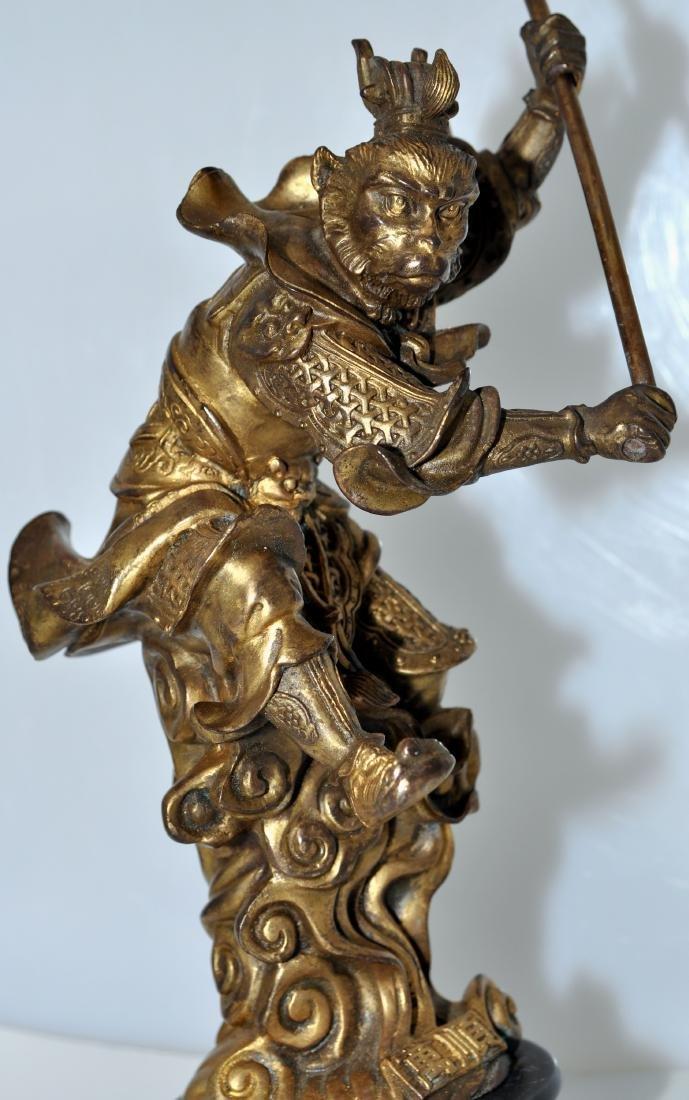 Bronze monkey warrior marble base - 6