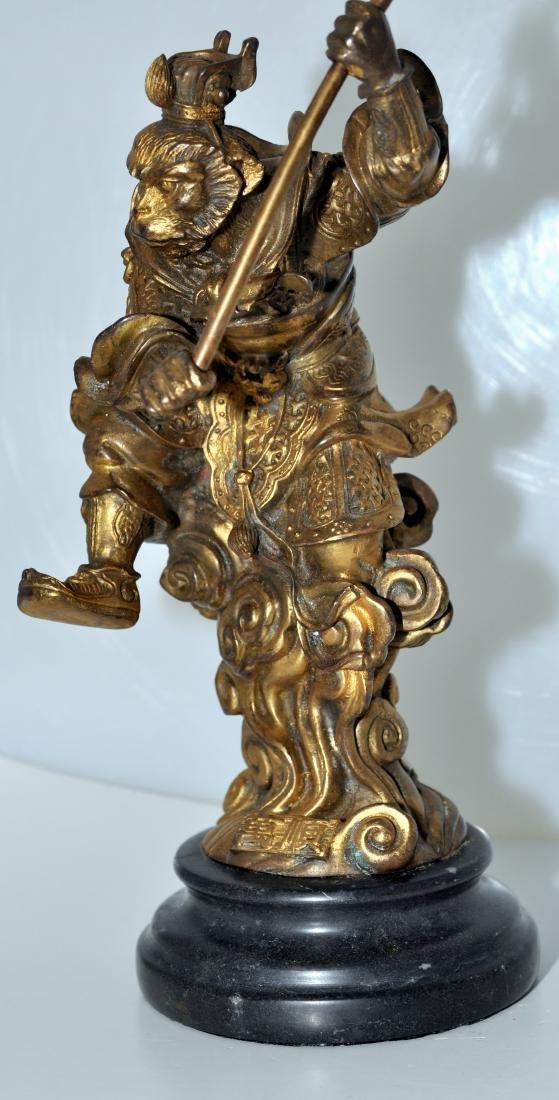 Bronze monkey warrior marble base - 7