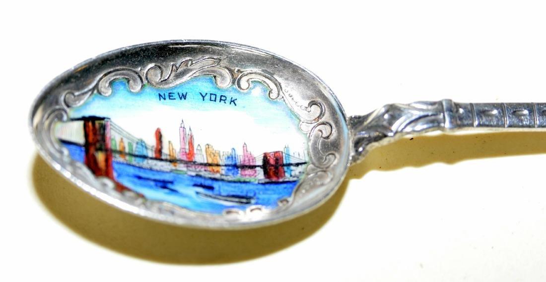 Brooklyn Bridge souvenir spoon vintage enamel - 2