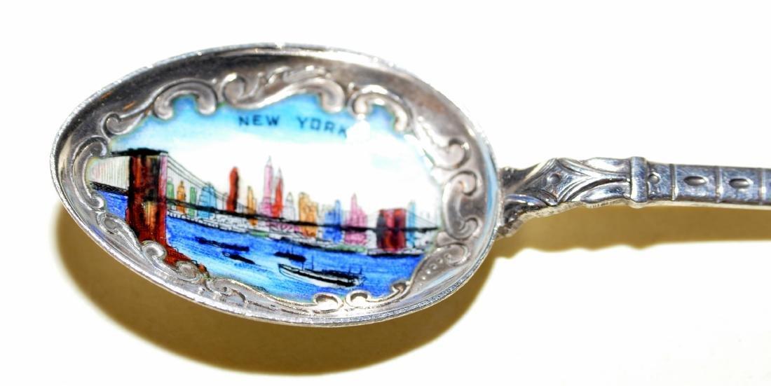 Brooklyn Bridge souvenir spoon vintage enamel - 3