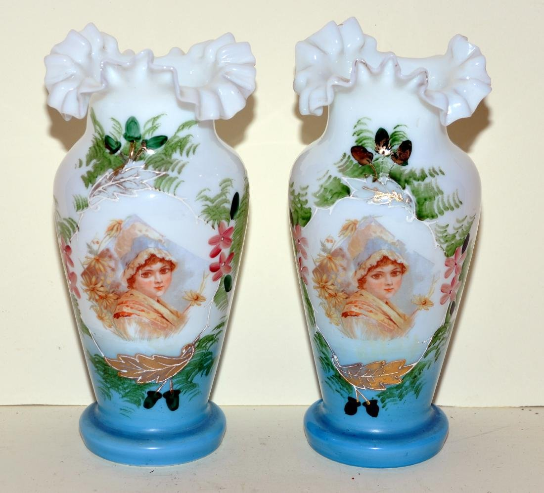 Matched Victorian milk glass portrait vases