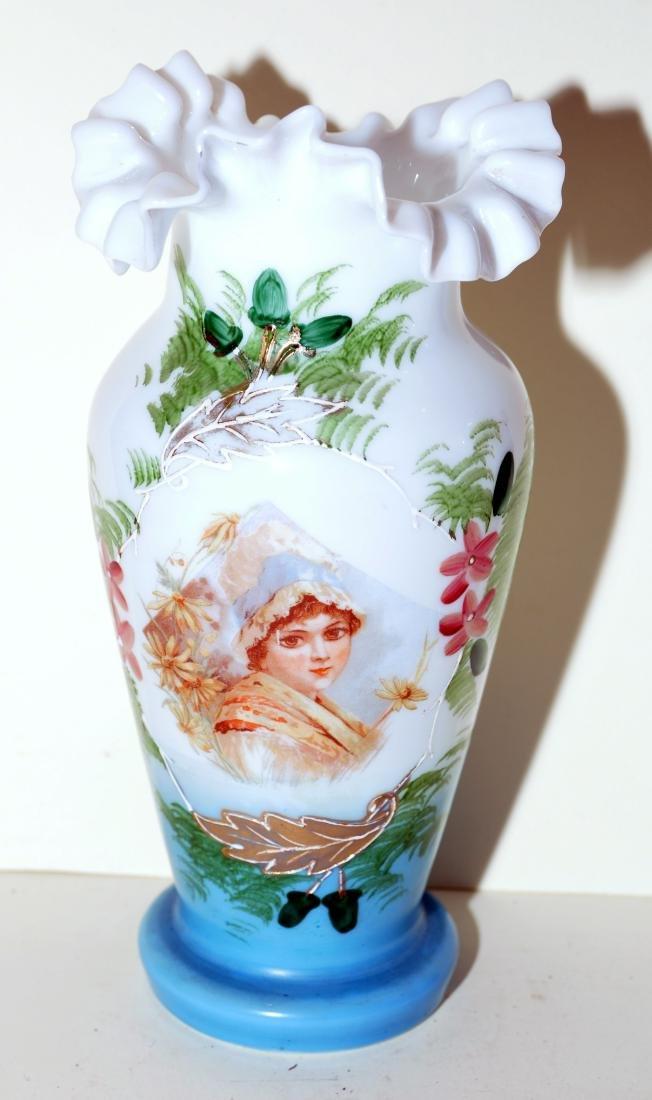 Matched Victorian milk glass portrait vases - 2