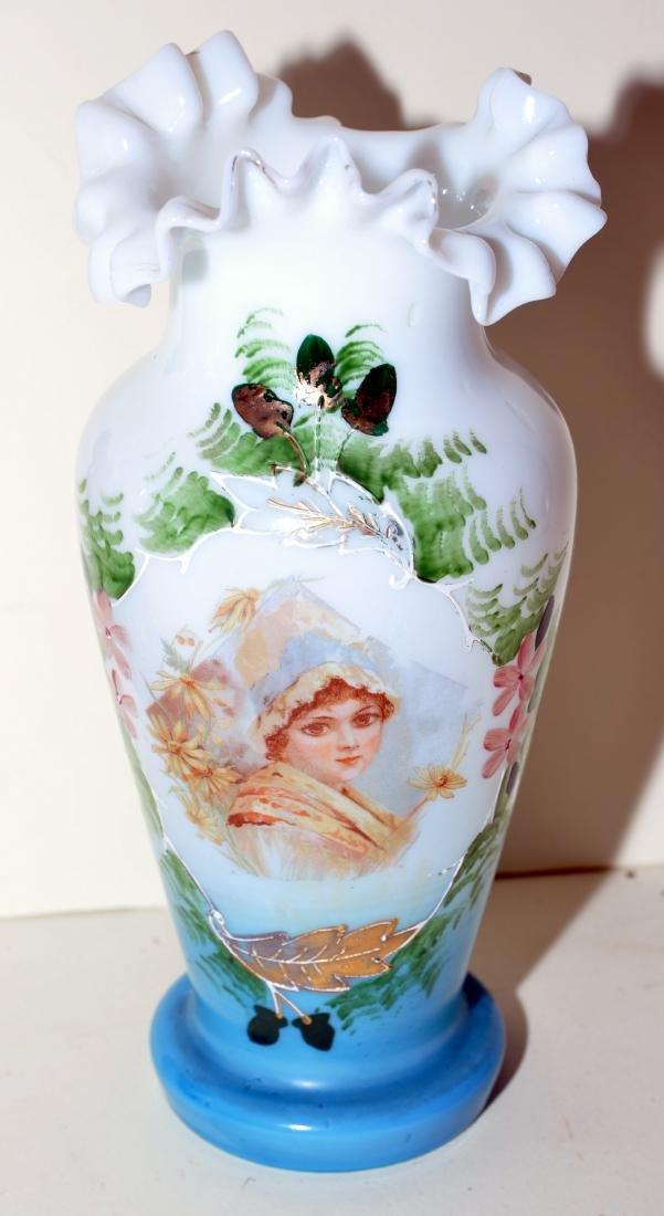 Matched Victorian milk glass portrait vases - 3