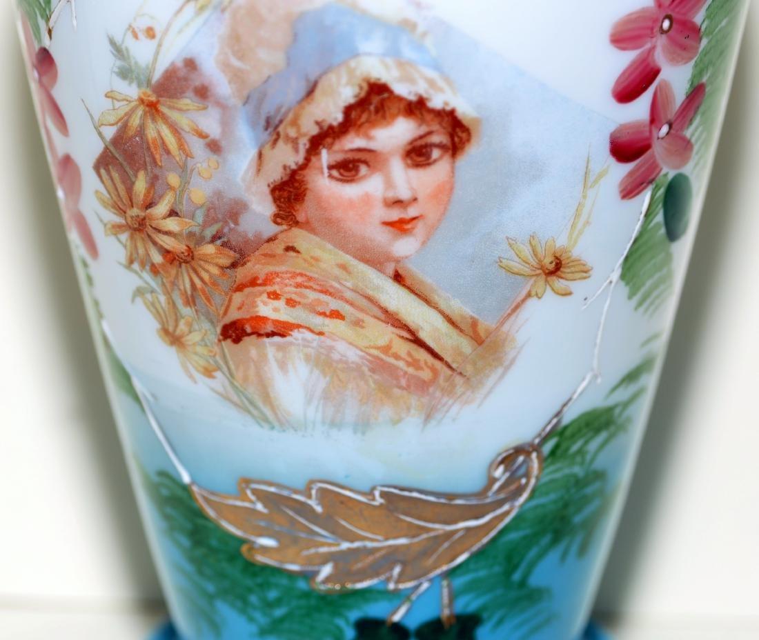 Matched Victorian milk glass portrait vases - 4