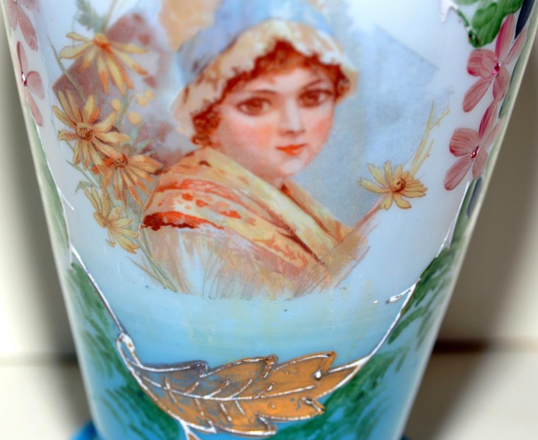 Matched Victorian milk glass portrait vases - 5