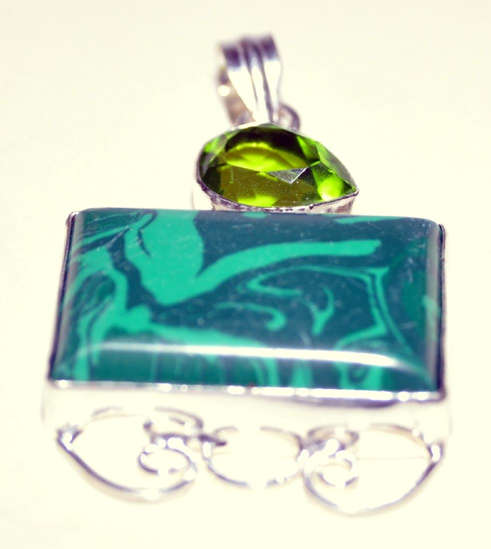 Sterling malachite pendant custom - 2
