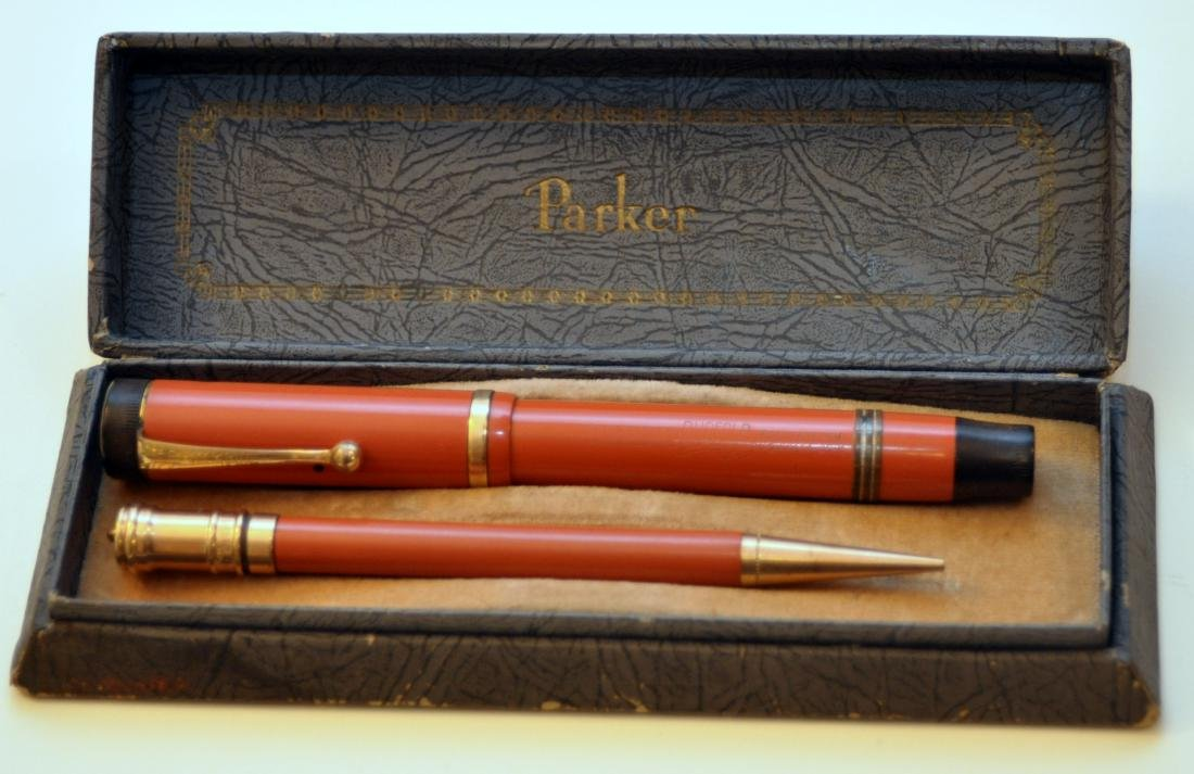 Parker Duofold red pen/pencil set vintage