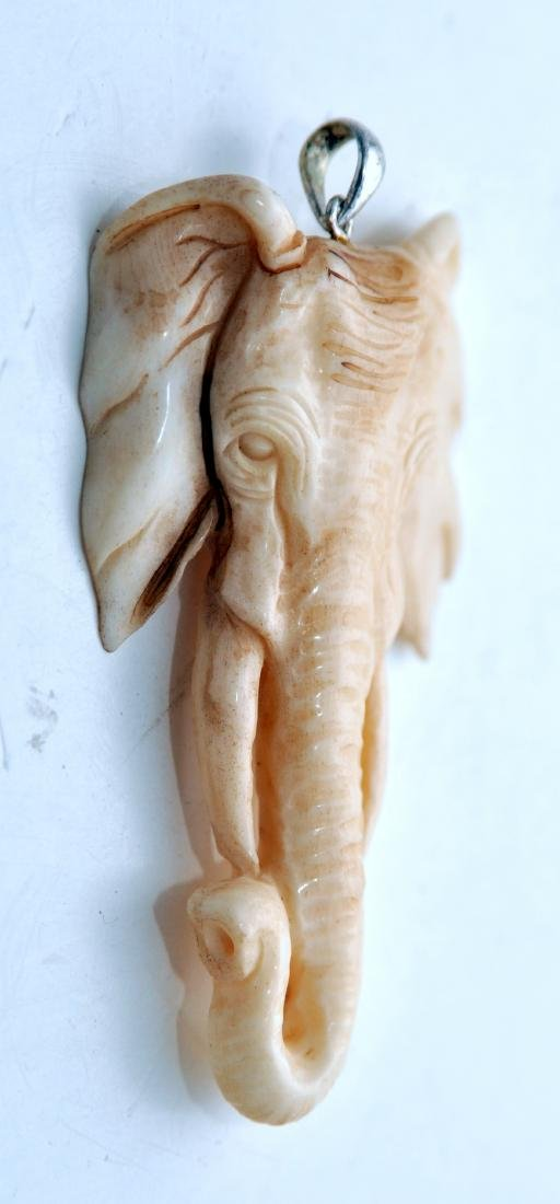 Elephant pendant carved ancient - 2
