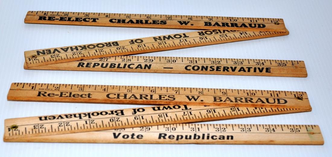 Vintage folding wood rulers advertising