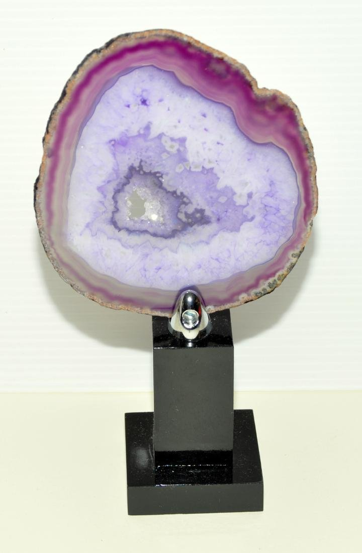 Sliced agate geode on stand - 2