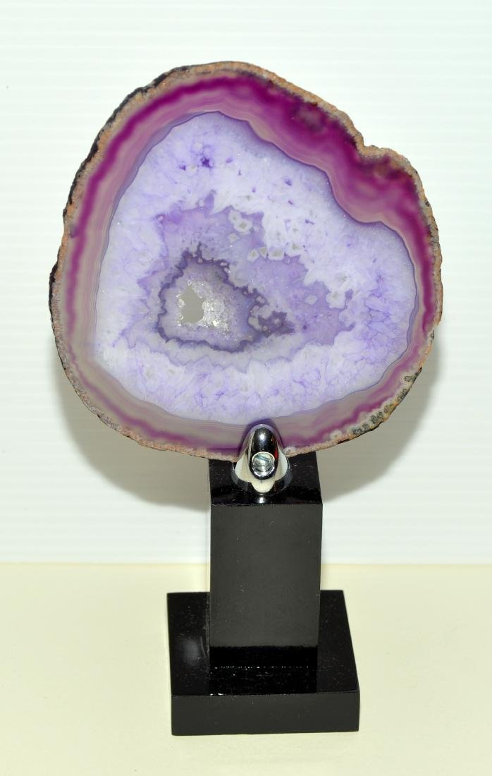 Sliced agate geode on stand - 3