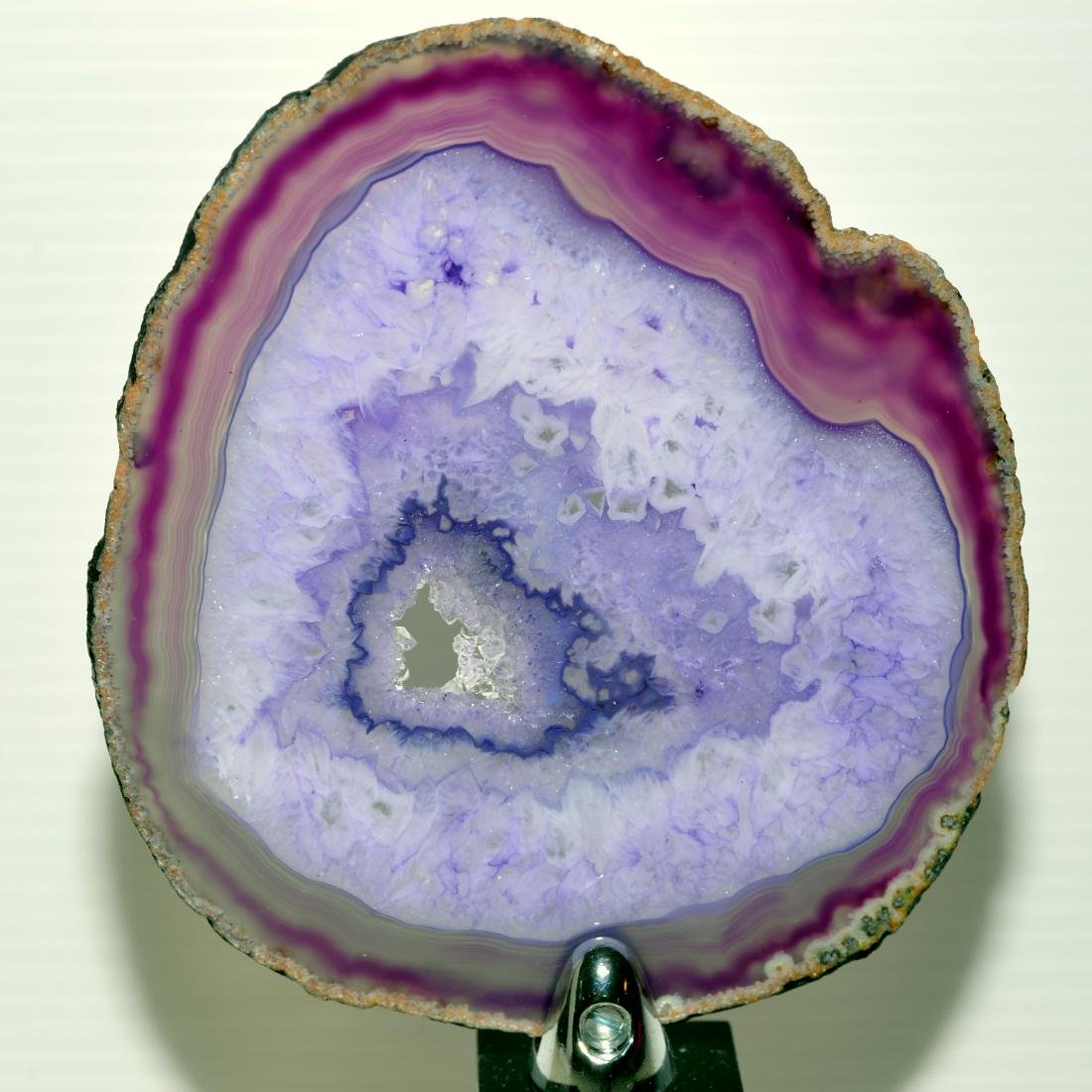 Sliced agate geode on stand - 4