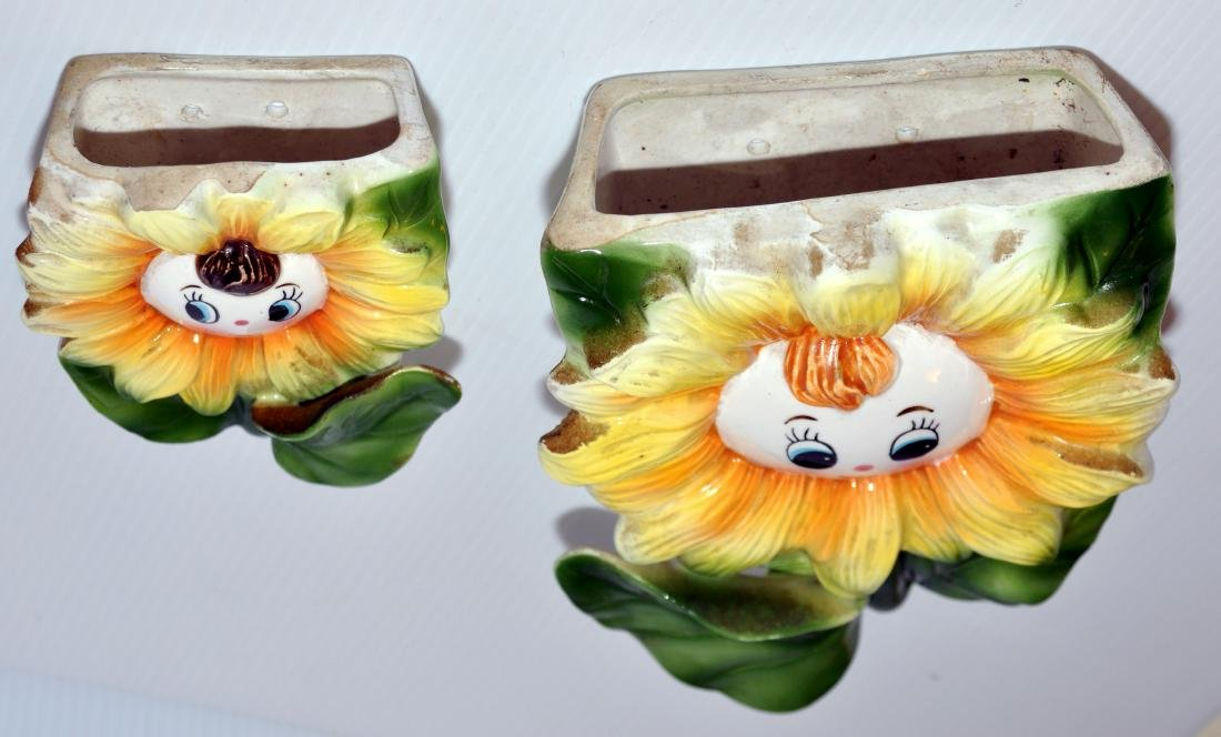 Wall pockets sunflowers vintage set - 4