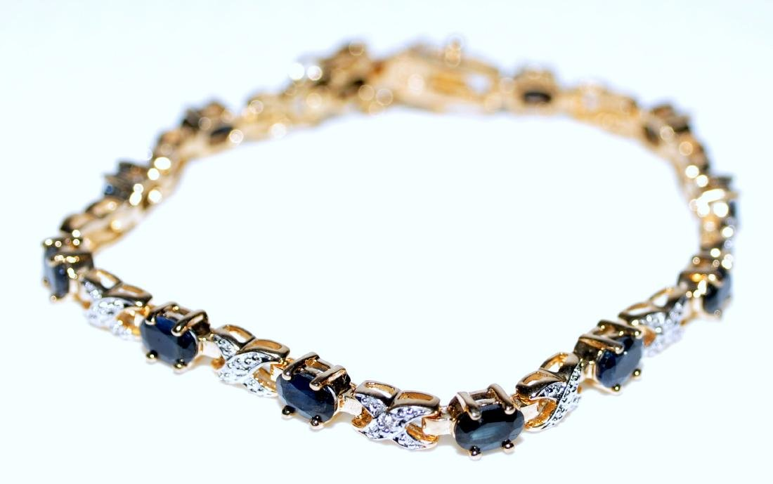 Vermeil sapphire bracelet straight line