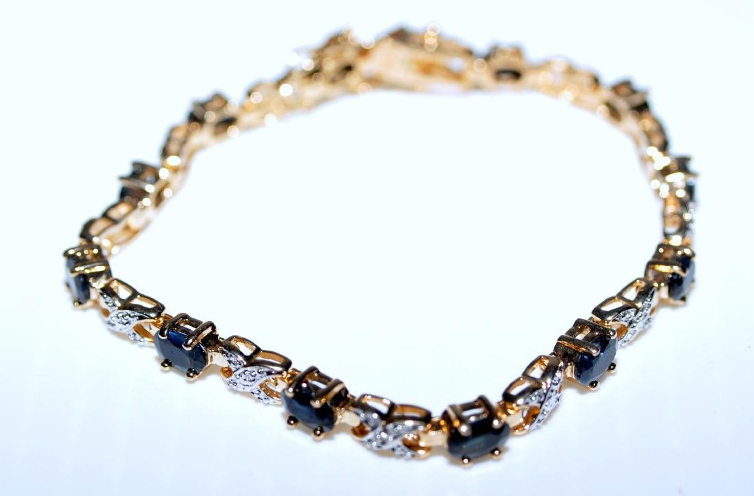 Vermeil sapphire bracelet straight line - 4