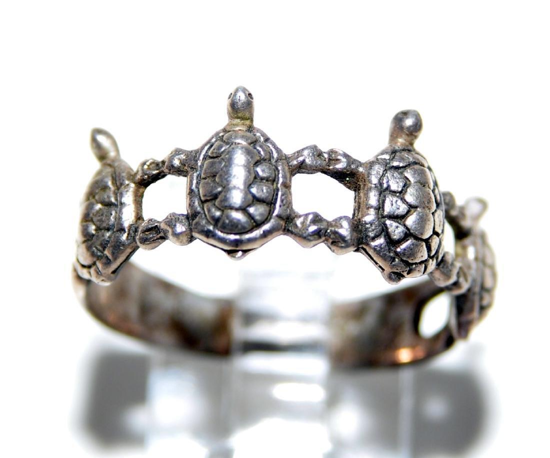 Turtle vintage sterling band - 5