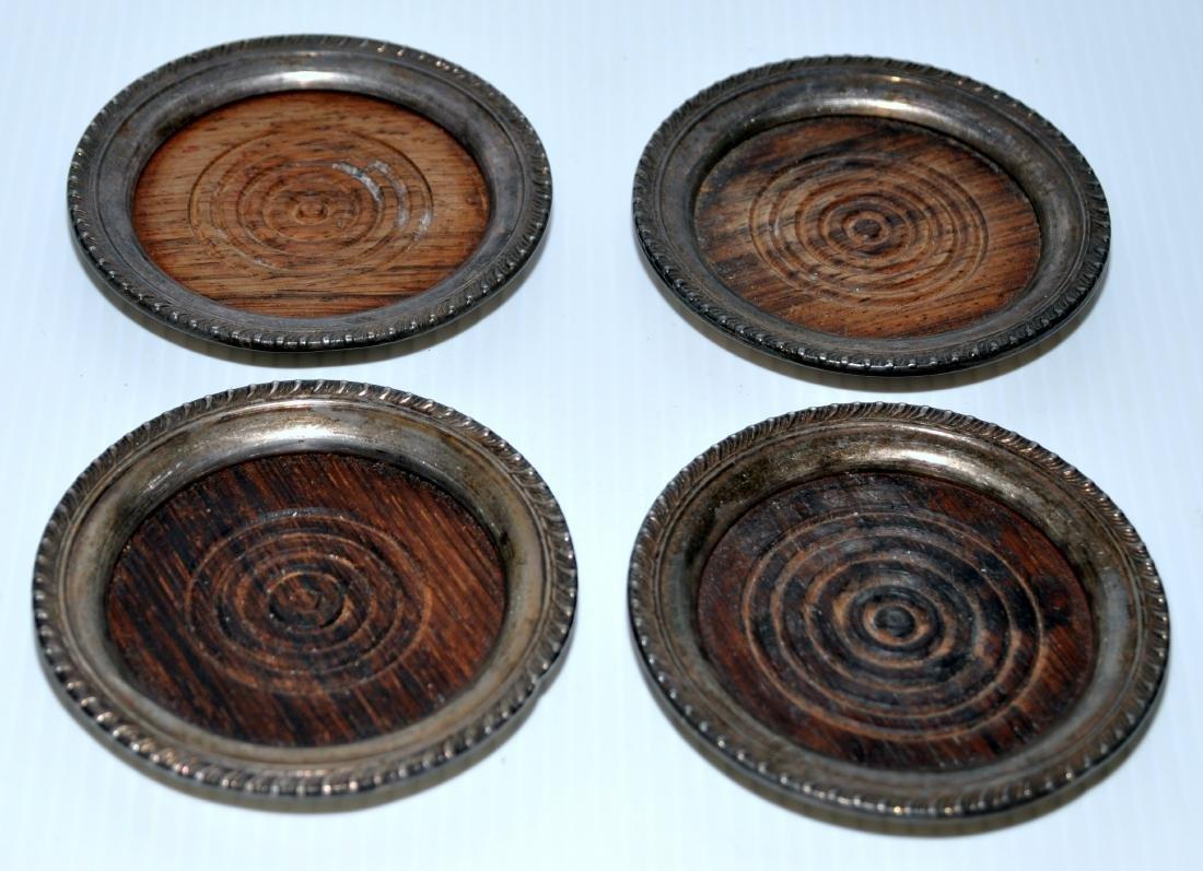 Vintage coasters sterling silver teakwood