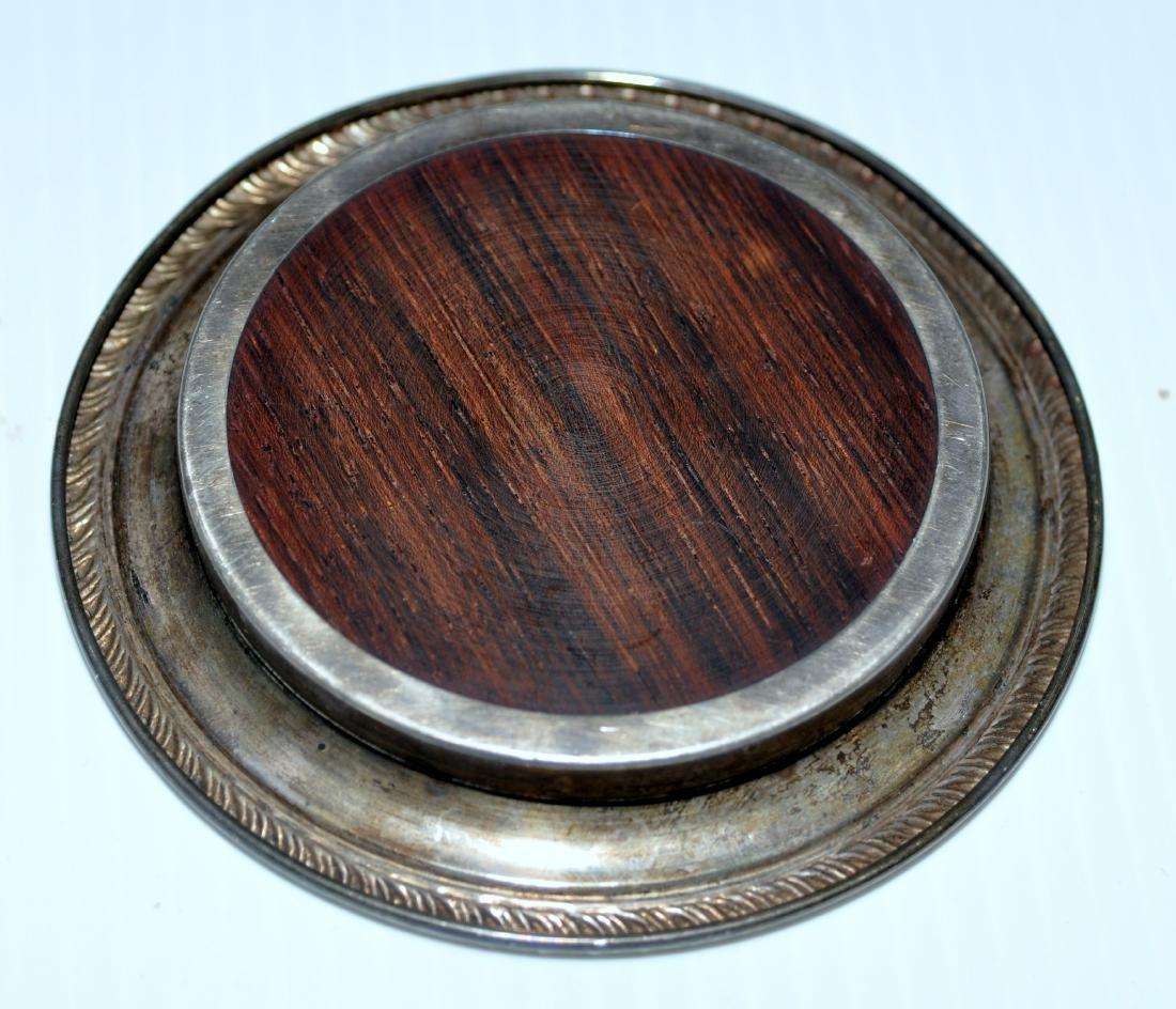 Vintage coasters sterling silver teakwood - 3