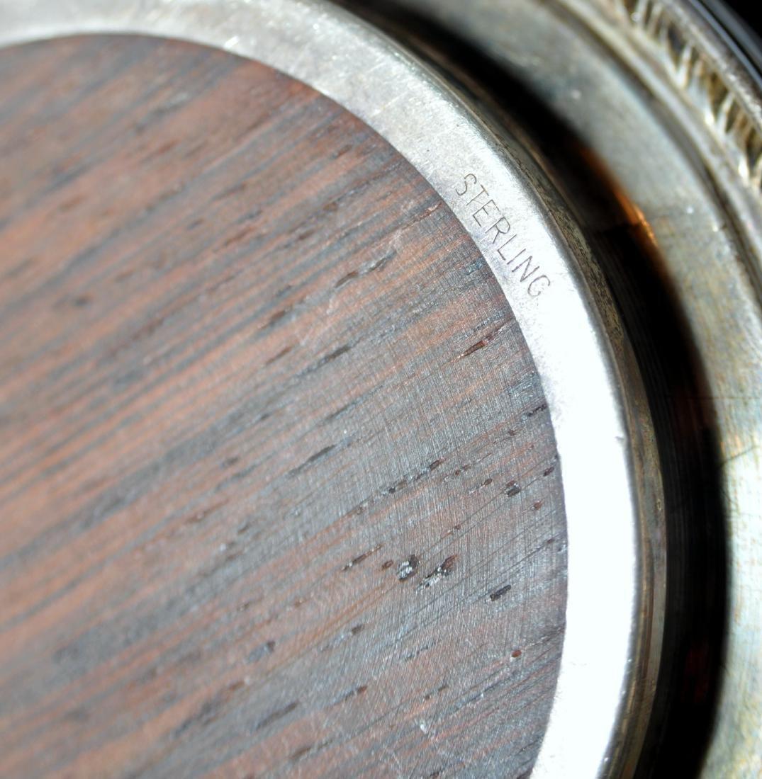 Vintage coasters sterling silver teakwood - 4