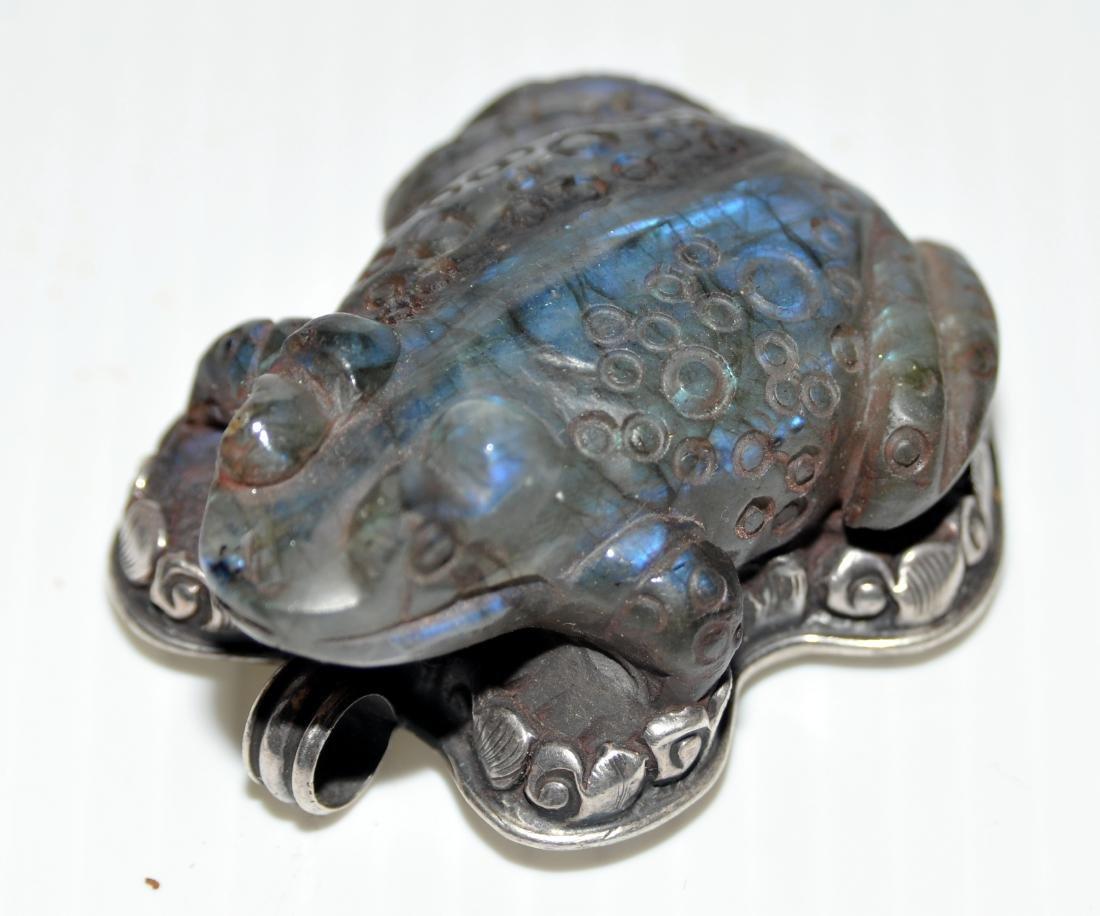 Frog labradorite pendant carved