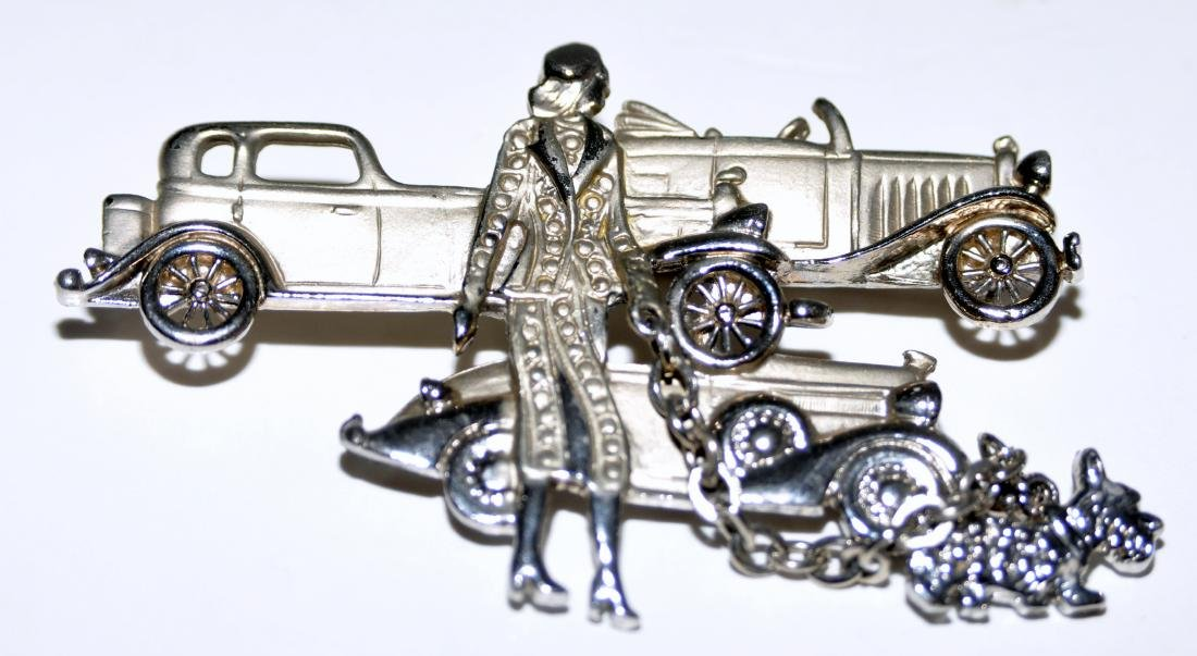 Costume vintage pin cars,lady and dog