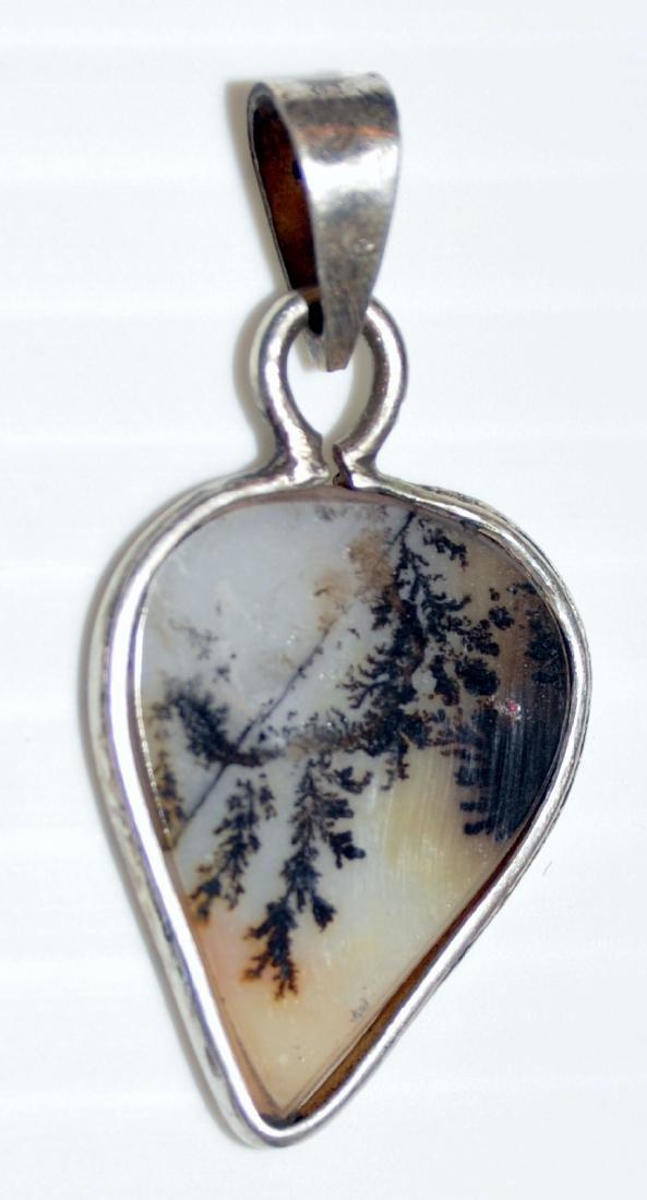Dendritic agate sterling pendant