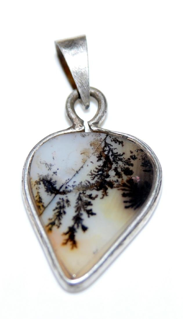 Dendritic agate sterling pendant - 2