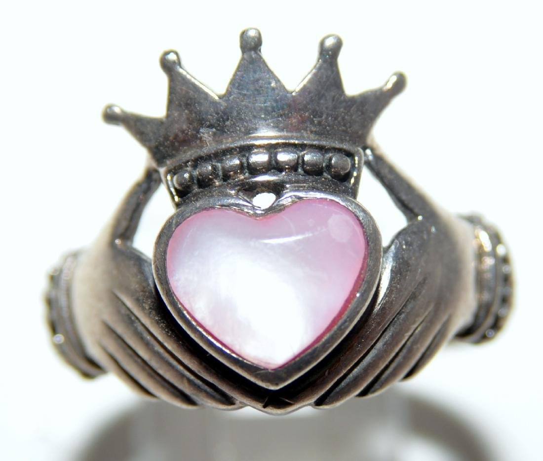 Sterling claddaugh ring heart mother of pearl - 2
