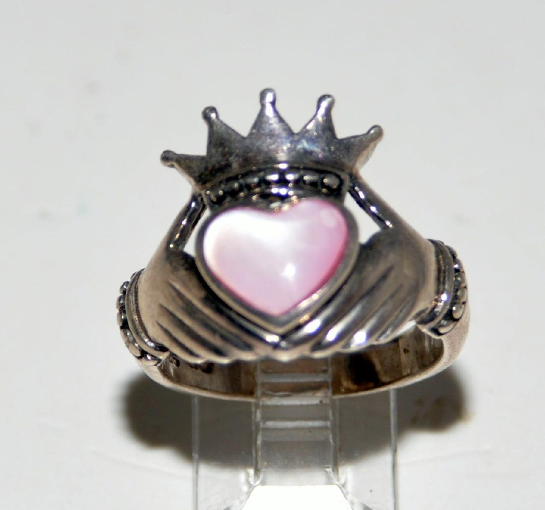 Sterling claddaugh ring heart mother of pearl - 4