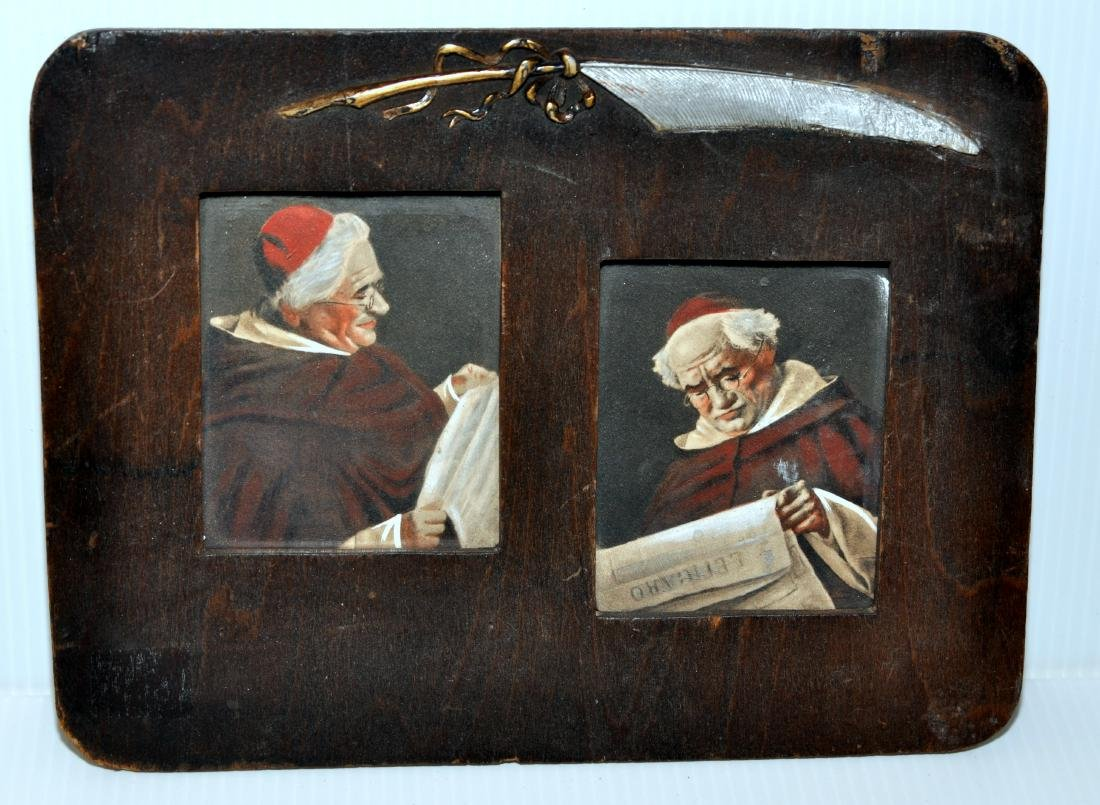 Cardinal framed vintage double picture