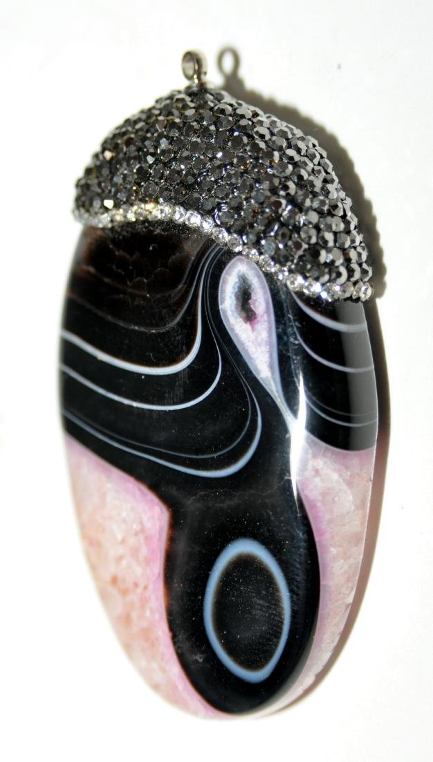 Lacy agate oval pendant - 3