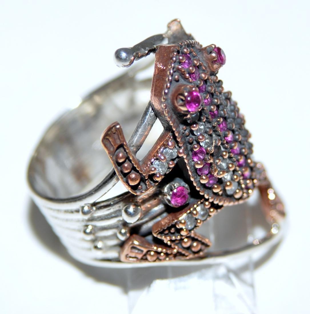 Frog sterling ring vermeil ruby - 2