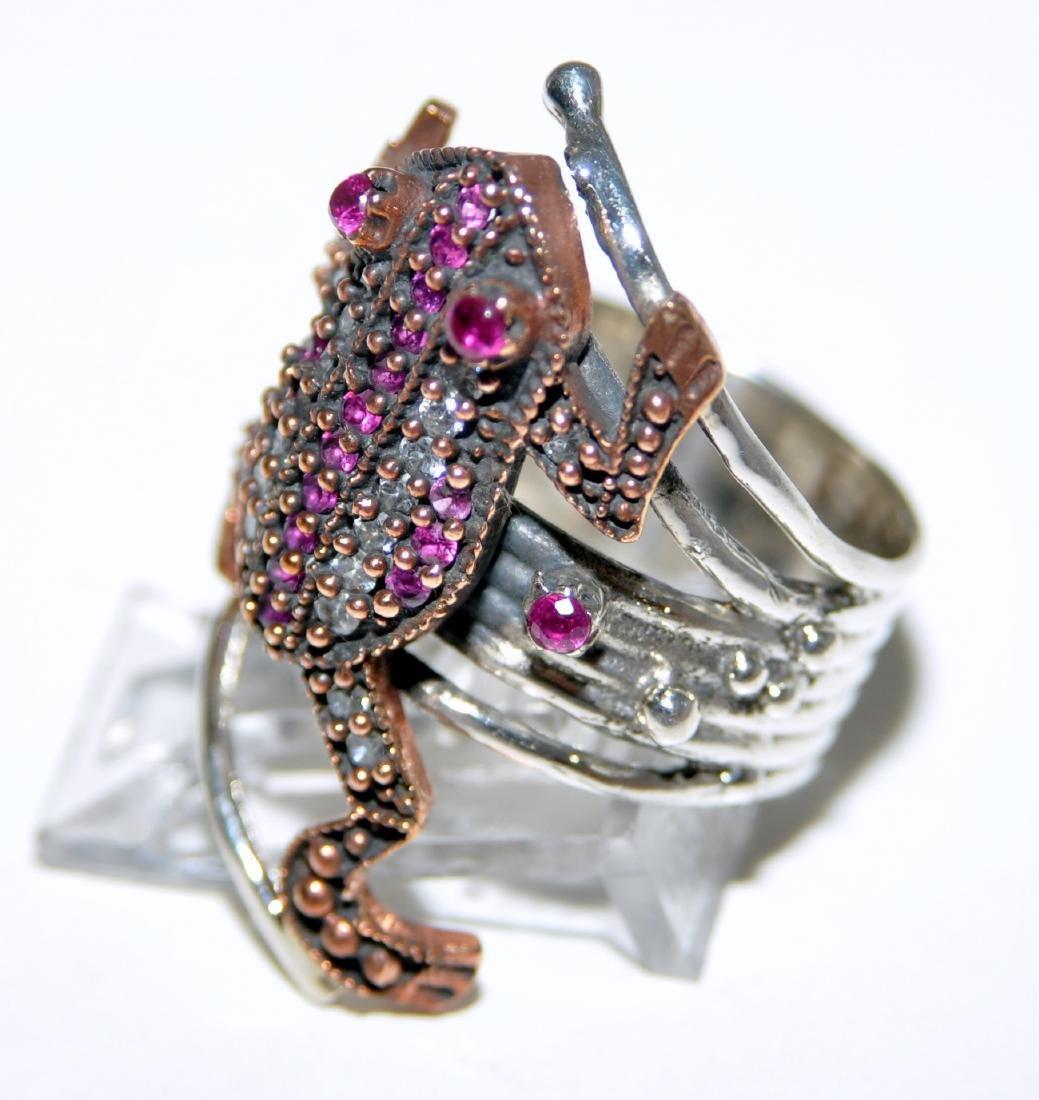 Frog sterling ring vermeil ruby - 3