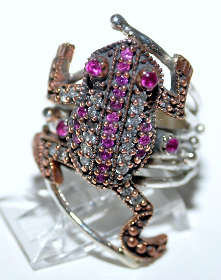 Frog sterling ring vermeil ruby - 4