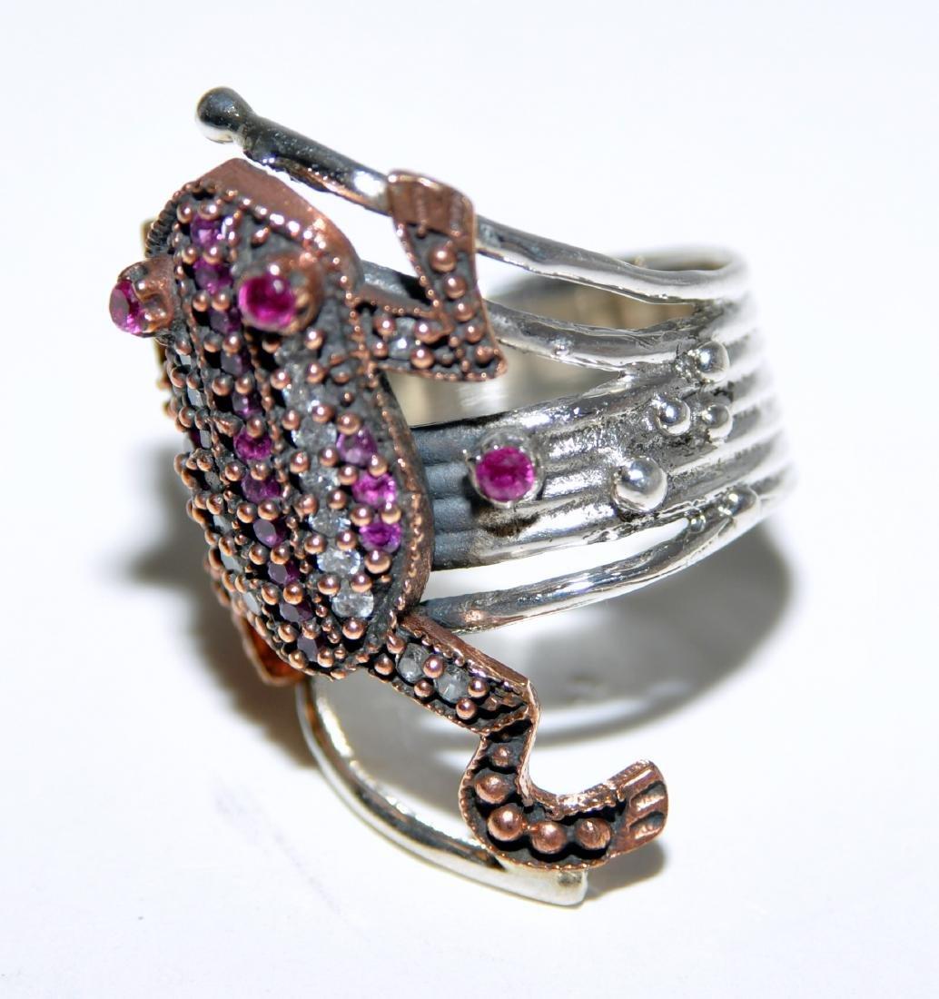 Frog sterling ring vermeil ruby - 5