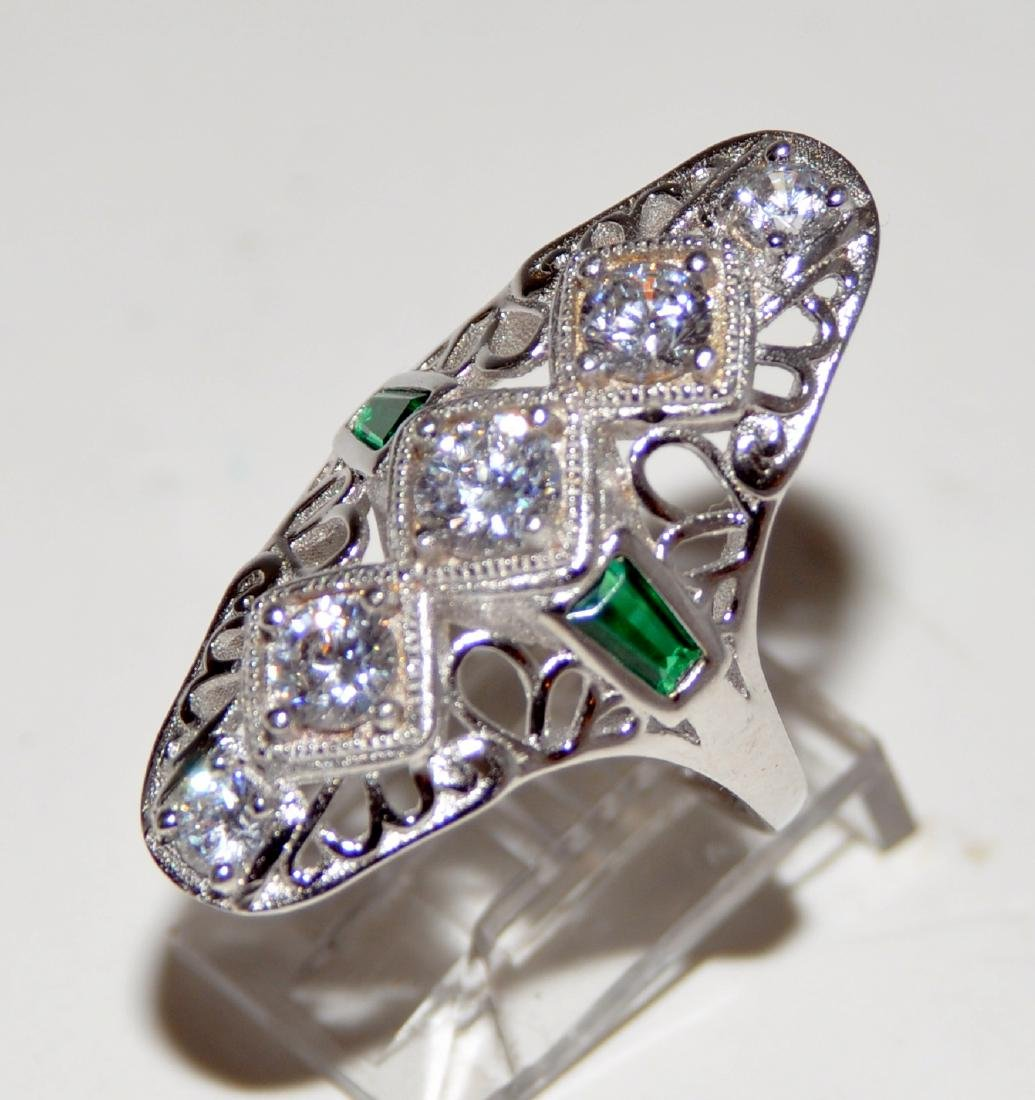 Sterling cocktail ring -30's style dinner ring - 3