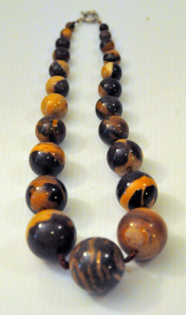 Large jasper beads knotted necklace - 3