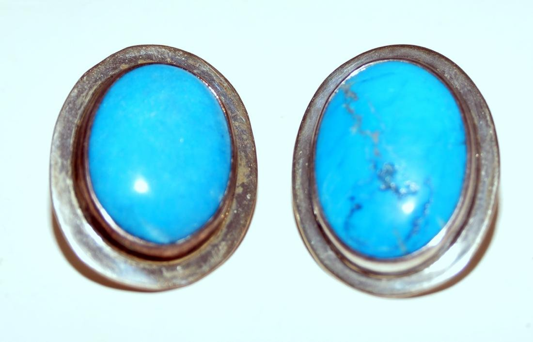 Turquoise sterling earrings 925 marked