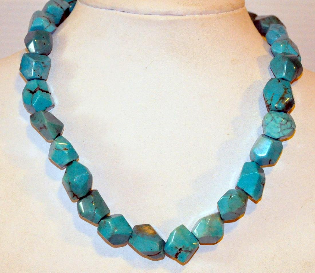 Turquoise necklace sterling designer