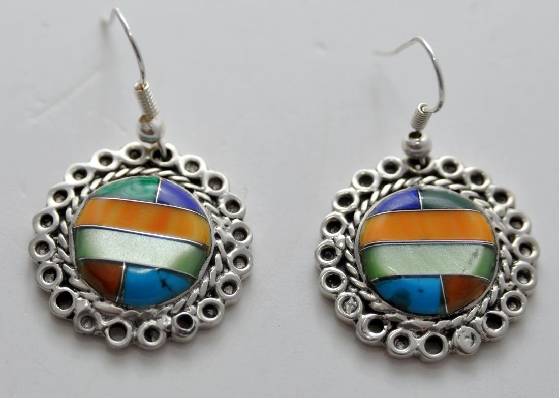 American Indian Zuni gemstone earrings