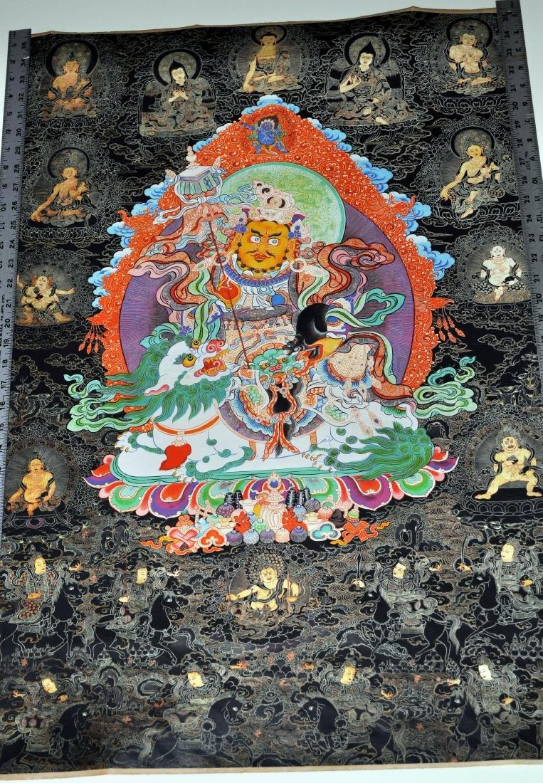 Tibetan tangka Buddha demons dragon in center