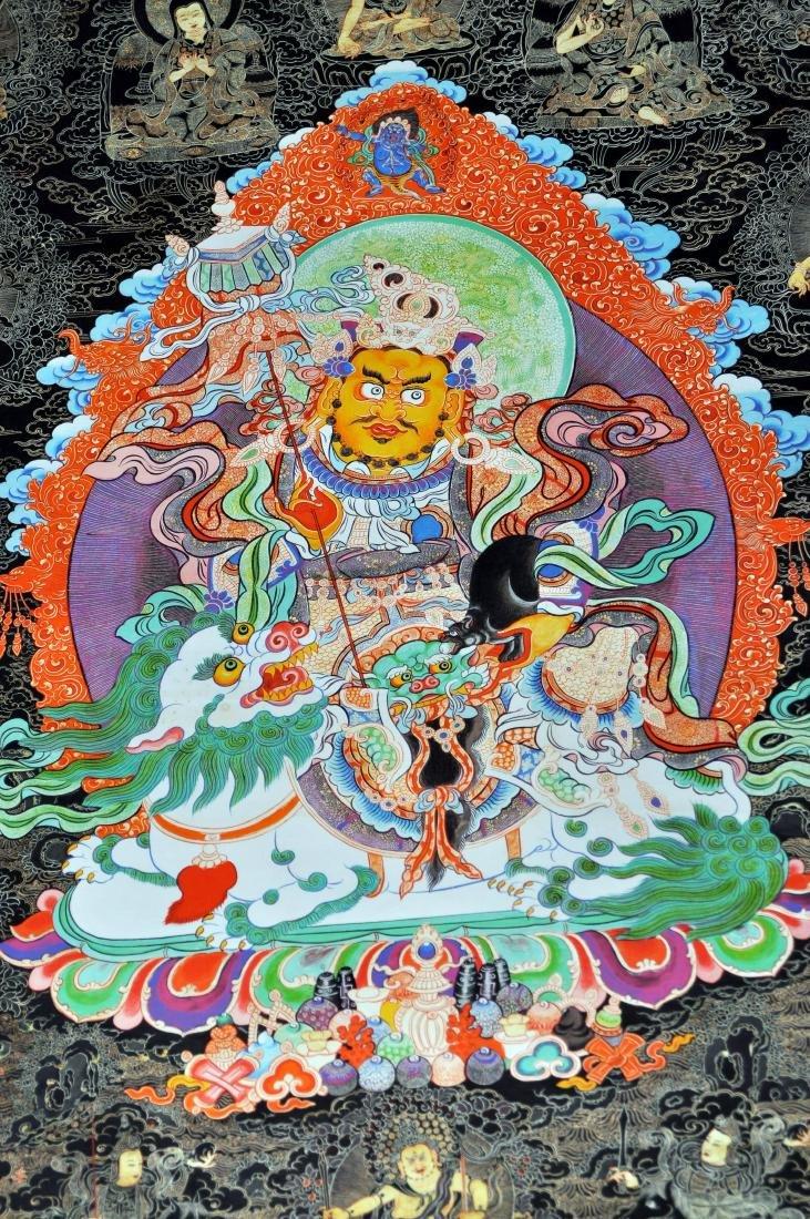 Tibetan tangka Buddha demons dragon in center - 3