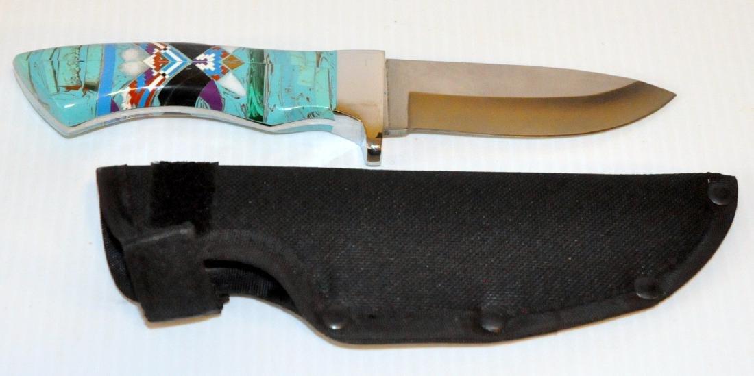 Knife turquoise inlaid Zuni style - 4